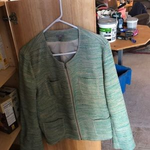 Green JJill jacket with zipper close